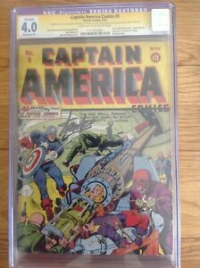 CAPTAIN AMERICA COMICS # 3 CGC 4.0 1941 RESTORED SIGNATURE SERIES STAN LEE