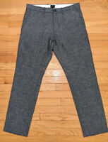 J Crew NEW Sutton Flecked Chambray Linen & Cotton Pants Flat Front 33x32 Fit 34
