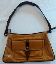 Francesco Biasa Leather Handbag Glossy Walnut & Dark Brown Leather interior.