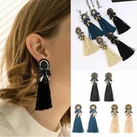 Women's Fashion Boho Dangle Long Tassel Earrings Fringe Crystal Ear Drop Jewelry