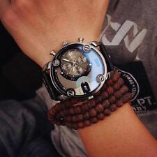 Uomo Cinturino Pelle Orologi Grande Quadrante Quarzo Analogico Orologio Watches