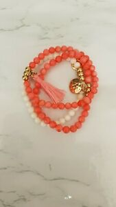 Olia Coral and white Stone Healing Beaded Bracelet Set Of 3