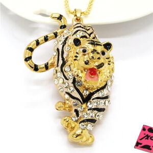 Hot Betsey Johnson White Rhinestone Animal Tiger Crystal Pendant Chain Necklace