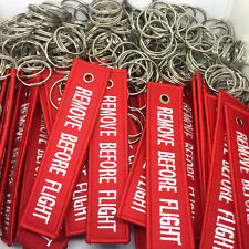10x Red Alloy Remove Before Flight Embroidered Luggage Bag Tag Keychain Keyring