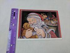 Sunrise Santa Feeding Teddy Bear Mark Alvin Illustration Christmas Holiday Card