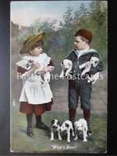 "c1905 - ""MINE'S BEST"" showing Children with Puppies / Dogs"