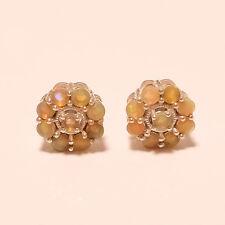 Natural Ethiopian Welo Fire Opal Gemstone Sterling Silver Earring Stud Jewelry