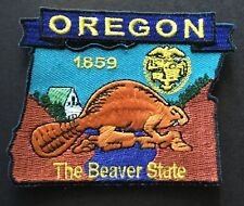 OREGON STATE MAP IRON-ON PATCH, EMBROIDERED