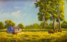 Original Australian Landscape Oil Painting of countryside farms by Chris Vidal