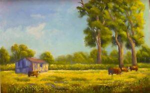 Original Australian Landscape Oil Painting of countryside farms by Chris Vidal