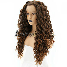 Anogol Brown Synthetic Lace Front Wig Long Kinky Curly Wigs Spiral Curls Hair