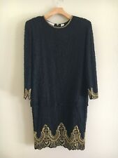 Vintage Laurence Kazar 100% Silk Fully Beaded Drop Waist Cocktail Dress Sz M