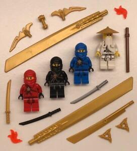 4 Lego Golden Weapons Ninjago Minifigs Lot: figures ninja Cole Jay Kai Sensei Wu