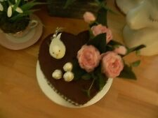 Stunning Ooak Chocolate Heart Peony/bird Faux/fake Cake