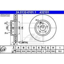 ATE 2x Bremsscheiben belüftet beschichtet 24.0132-0101.1