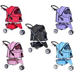 Black Red Blue Pink Purple Pet Cat Dog Cage 3 Wheels Travel Folding Stroller NEW