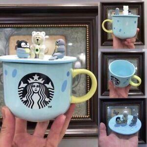 2021 Starbucks Blue Bear Coffee Mugs W/ Animal Silicone Lid Cups Limited Edition