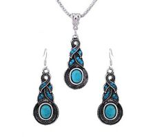 Tibetan Silver Plated CZ Turquoise Crystal Necklace And Earring Jewellery Set