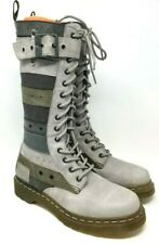 Dr. Martens Women's Thema 14 Eye Grey Multi Strap Boots US 7 EU 38 RARE T246