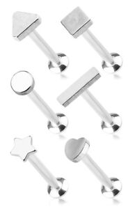 1.2mm Surgical Steel Labret Stud + Mixed Shapes ~ Lip, Helix, Tragus Piercing