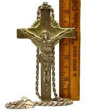 "Vintage STERLING SILVER JESUS ON CROSS Crucifix Pendant w/ 20"" .925 ""ROPE"" CHAIN"