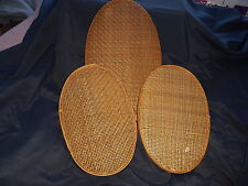 Set Of 3 Vintage Wicker Rattan Baskets Oval Wall Hanging Boho Home Decor