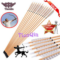 "Hunting Archery 6pcs 31.5"" Wooden Arrows 20-70lbs  for Traditional Bow"
