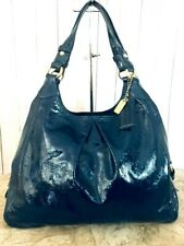 Coach Graphite ELECTRIC  BLUE Patent Leather Maggie Shoulder Bag Purse # 13900