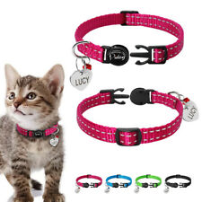 Nylon Reflective Dog Kitten Cat Breakaway Collar Name Engraved Tag Quick Release