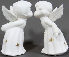 Vintage Kissing Angels Fine Porcelain Xmas Holiday White Gold Star JAPAN 3.5 in