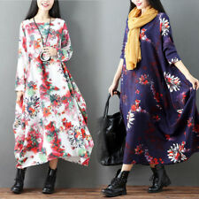 18434101554 Womens Flower Fashion Floral Print Long Dress Cotton Linen National Gown  Loose
