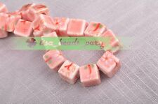 10pcs 10mm Light Red Plum Cube Square Ceramic Porcelain Big Hole Loose Beads