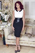 Amy Childs Lipsy 14 Black White Bodycon Leather Look Panel Pencil Dress Party