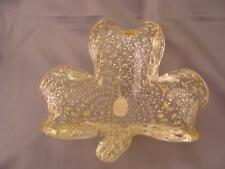 MURANO Ashtray Three Leaf Clover Shape CLEAR w Lots of Gold Old Sticker Bubbles