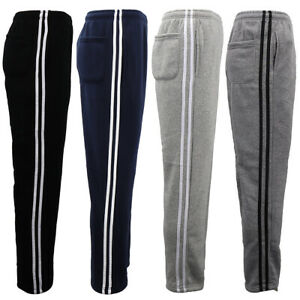 Men's Fleece Lined Casual Sports Track Striped Sweat Pants Trousers Gym Trackies