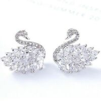 925 Sterling Silver Shiny Swan Design Genuine White Topaz Gemstone Stud Earrings