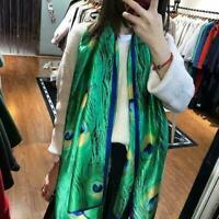 Mulberry Silk Women's Soft Peacock Long Scarf Wrap E6P3 Towel Beac Shawl Sc X9N4