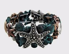 Starfish bracelet patina seashells tricolor metal beach sea stretch 8.25 inches
