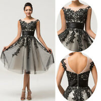 Lace Short Dress Bridesmaid Prom Formal Evening Party Cocktail Ball Gown Black