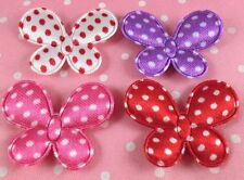 Cute Padded Satin dots Butterfly appliques x80 Mix~Cradmaking/Trim