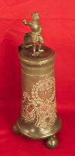 Superb 18th Century Dated 1715 Pewter Figural Lidded Flagon / Tankard