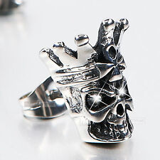 silver stud ss crystal SINGLE vintage style skull crown king earring