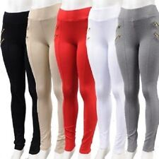 Women Gold zip pull ups Leggings Pants stretch S,M,L,XL  skinny Ci Sono Cavalini