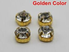 20 Golden Clear Crystal Glass Rose Montees 10mm SS45 Sew on Rhinestones Beads