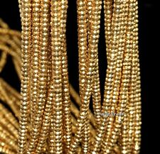 4MM GOLD HEMATITE GEMSTONE GOLD FACETED RONDELLE 4X2MM LOOSE BEADS 15.5""