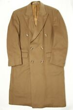 Burberry Mens Overcoat 40 R Solid Brown Wool Cashmere Double Breasted Coat