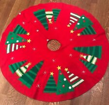 """Crate & Barrel Red Christmas Tree Skirt Whimsical Trees Wool Felt Buttons 52"""""""