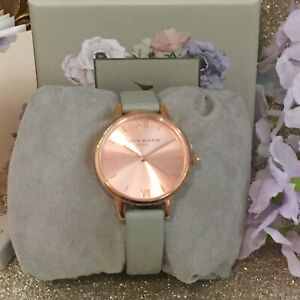 OLIVIA BURTON DOVE GREY AND ROSE GOLD SUNRAY DIAL WATCH🧡Brand New With Tags