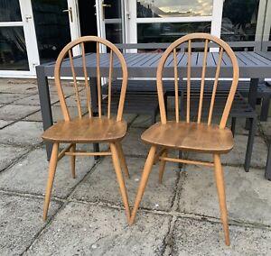 Ercol Windsor Hoop Back Pair Of Chairs Beech Model 4A