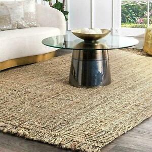 Rug 100% Natural Jute Braided Style Rectangle Floor Rug Living Area Loop Rag Rug